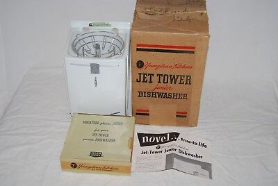 Youngstown Kitchens Jet Tower Junior Dishwasher & Dishes in Original Box 1950's