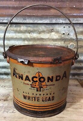 Vtg Anaconda Mining White Lead 25 LB Wedge Seal Can Indian Arrowhead Graphics