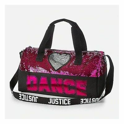 NWT Justice girls pink flip sequin DANCE full size Duffle Bag Sport Practice NEW