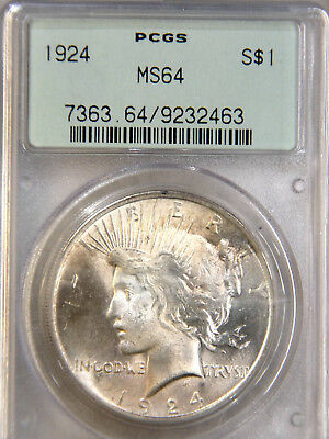1924 Peace Dollar PCGS MS64  Rose Hued White, Superb Luster #84M
