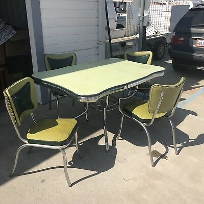 Vintage Chrome & Formica Table And Chairs With Leaf Needs TLC