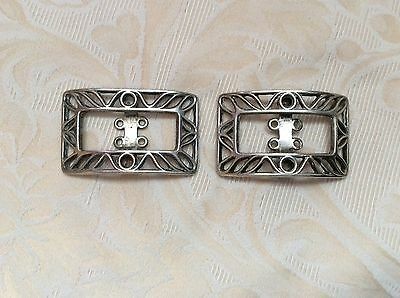 Antique Sterling Silver Shoe Buckles Hallmarked Edinburgh 1902 Maker Brook & Son
