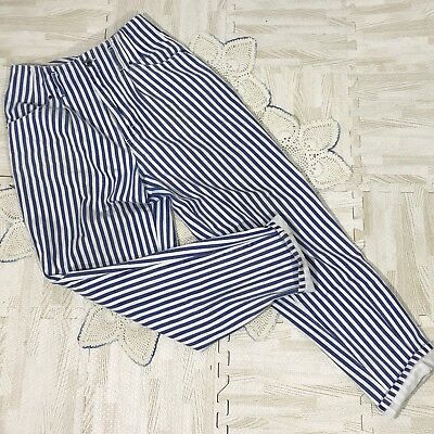 Vintage 1990s Union Bay Blue And White Striped High Waisted Jeans Size 11