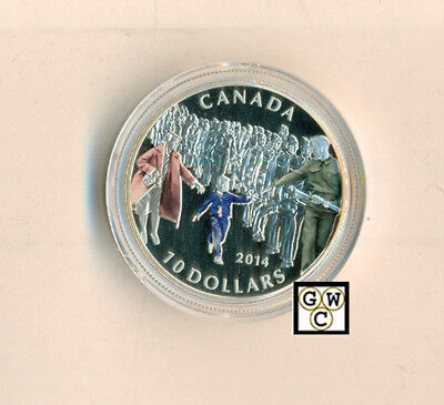 2014 Colorized 'Wait for me Daddy' Proof $10 Silver Coin .9999 Fine(15010)(OOAK)