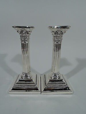 Gorham Candlesticks - A3206 - Pair Classical Columns - American Sterling Silver