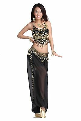 ZLTdream Lady's Belly Dance Chiffon Banadge Top and Lantern Coins Pants Black