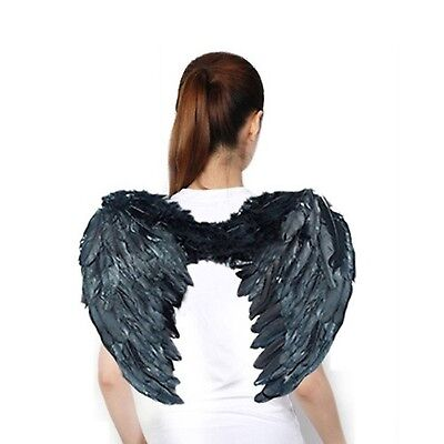 AISHN Angel Wings Feather Cosplay Halloween Party Costumes Black1