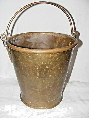Antique Brass Water Kettle Bucket Milk Pail Incised Rings Decoration Heavy