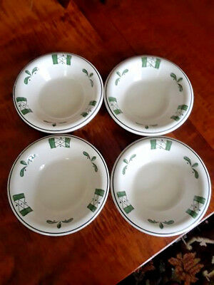 4 Buffalo Pottery Rimmed Bowls A-13 Green Ivory Restaurant Ware Soup Cereal