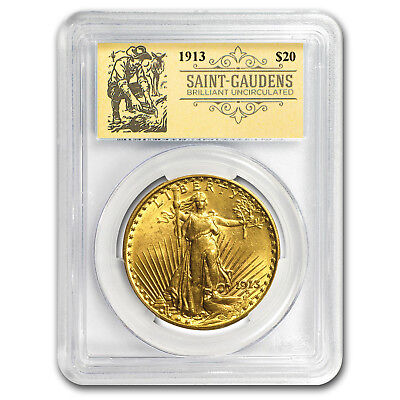 1913 $20 Saint-Gaudens Double Eagle BU PCGS (Prospector Label)