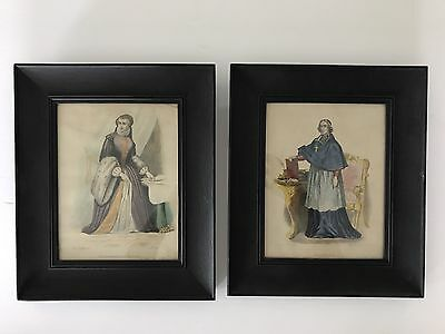 Pair of Antique Hand Colored Etchings Portraits With Black Oak Frames, 1836