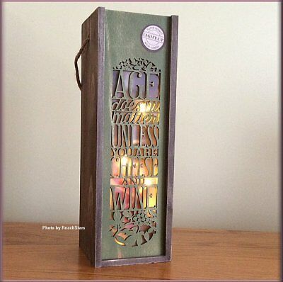 Age Doesn't Matter Lighted Wine Bottle Gift Carrier Lantern Wood Box Free Ship