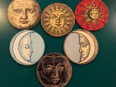 Set of Imperial Astronomy Coasters w/ Box - Moon Sun Met. Museum of Art 1995