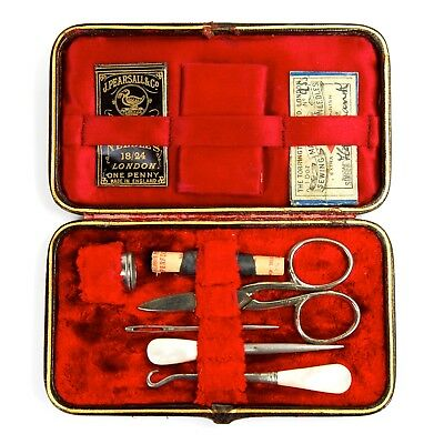 Antique Sewing Kit Set Red Velvet Case Box Carved Needlework Tools Etui c.1900