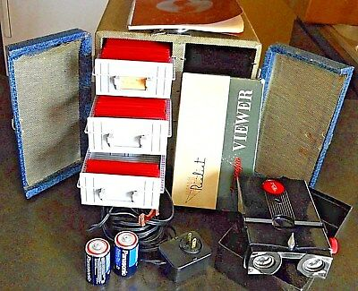 STEREOSCOPIC 3D REALIST VIEWER  MODEL ST-61 (Red Button) IN BOX, 74 SLIDES, CASE