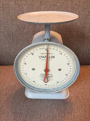 Vtg Chatillon Commercial Kitchen Platform Scale USA Blue Antique Retail Store