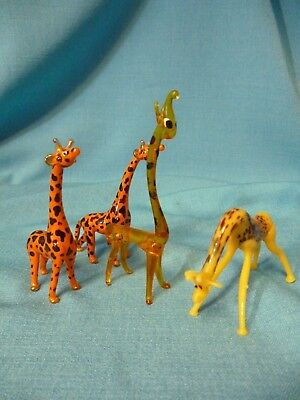 "Glass Giraffe Pair + 2   - ""free Ship""  Figurines  Picture Perfect Miniature"