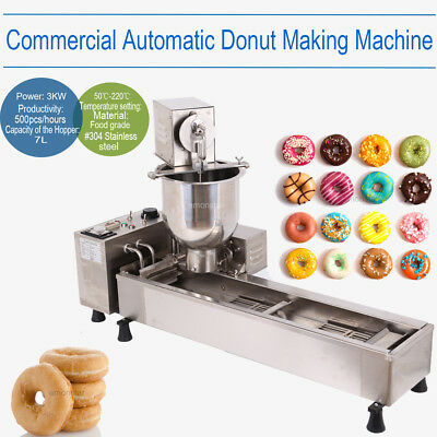 Commercial Automatic Donut Maker Making Machine Wide Oil Tank 3 Set Free Mold US