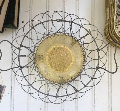 Antique Wire Basket EAPG Yellow Glass Plate Bottom Victorian Calling Card Basket