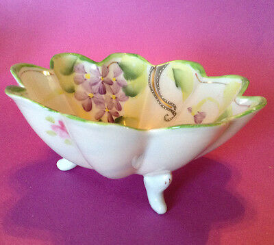 Footed Nut Bowl - Hand Painted With Roses And Violets - Moriage Beading - Japan