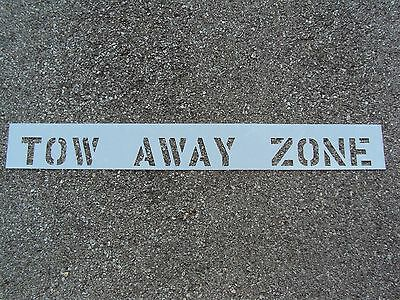 "4"" TOW AWAY ZONE Parking Lot Stencils for Curb 1/16"" LDPE Material"