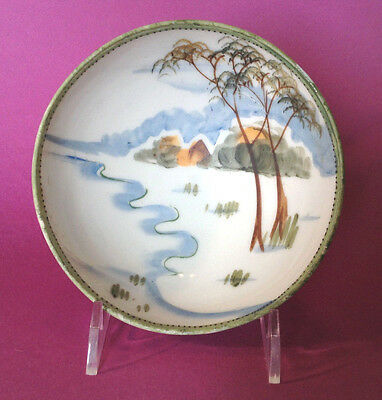 Je-Oh Nippon Footed Bowl - Hand Painted - Green Rim With Brown Moriage - Japan