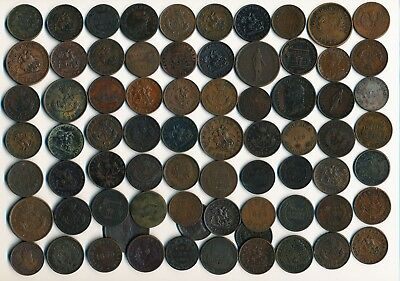 73 Old Canada Tokens & Coins >  Interesting Lot > See Images>No Reserve