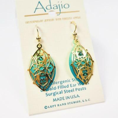 Adajio Earrings Shiny Gold Plated Abstract Design Over Green Pointed Oval 7916