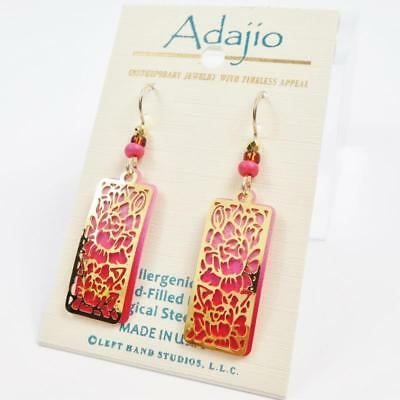 Adajio Earrings Shiny Gold Plated Floral Design Over Ombre Pink Column Handmade