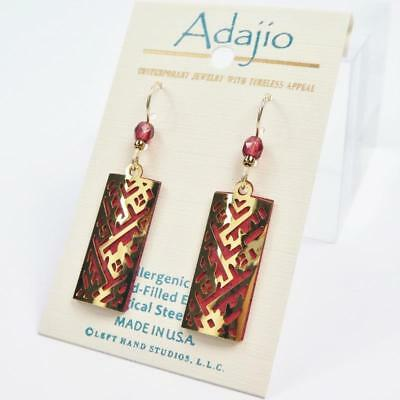 Adajio Earrings Shiny Gold Plated Geometric Design Over Red Column Handmade 7902