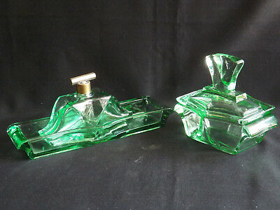 Trio Of Green Deco Depression Glass Dressing Table Set Parts