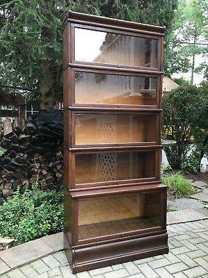 Antique Macey 5 Stack Oak Barrister Bookcase W/Oversized bottom stack
