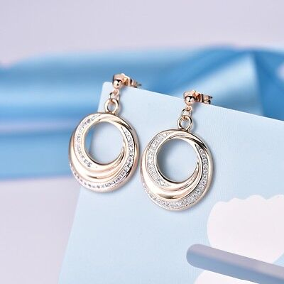 Brilliant Women Wedding Sapphire Crystal Round Hoop Gold Dangle Earrings Jewelry