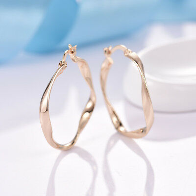 18k Gold Filled Fashion Cool Pop Style Women Lady Party Big Round Hoop Earrings