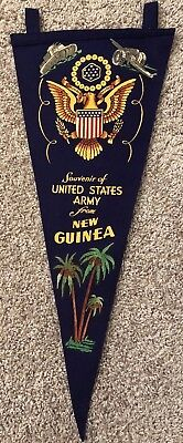 WWII Souvenir of United States Army from NEW GUINEA Felt Pennant