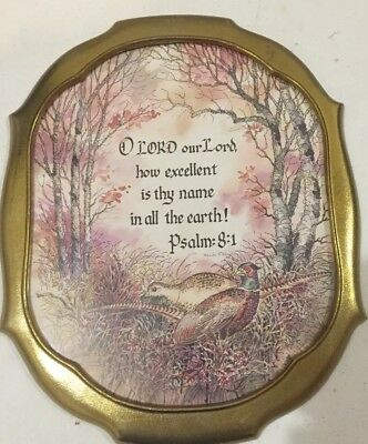 """Vintage Home Interiors Gold Oval Psalm 8:1 with Pheasants Print 16 x 13"""""""