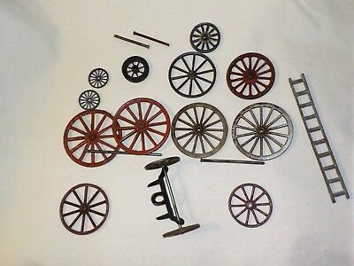Vintage Cast Iron Toy Wheels Wagon Fire Truck Ladder Parts Lot Hubley, Ives