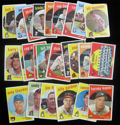 1959 Topps Baseball 25 Card Lot Low Grade Starter Set w Dodgers Koufax Team CL +