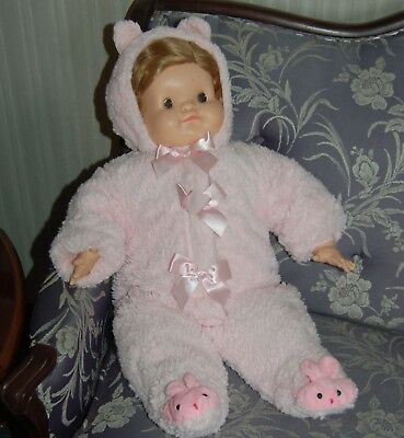 1967 Madame Alexander Pumpkin Baby Doll in  Pink Bunny Suit and Pink Pajamas