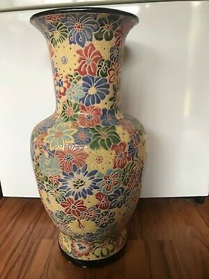 Chinese large vase flower pattern, creme and multicoloured flowers, used