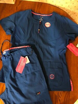 "New XL Royal Blue KOI Lite Womens Scrub Set Hemmed To 29"" Inseam.See Description"