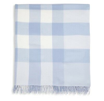 Burberry Mega Check Merino Wool Baby Blanket Blue/White