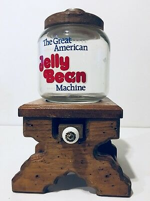 The Great American Jelly Bean Machine Candy Dispenser Wooden Frame W/ Glass Jar