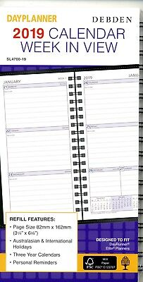 Debden SL4700 Dayplanner 2019 Calendar Refill. Week In View. 82mm x 162mm