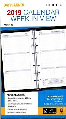 Debden PR2700 Dayplanner 2019 Calendar Refill. Week In View. 96mm x 172mm