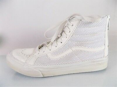 e6c38bb6 VANS~CLASSIC SK8-HI~WHITE LEATHER Back Zip Sneakers~Skateboarder Shoes~M 6  W 7.5