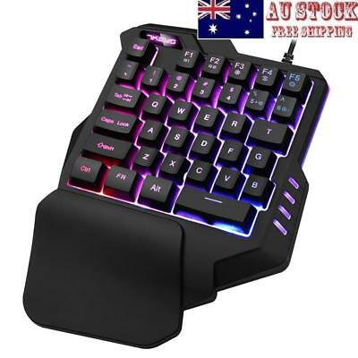 USB Wired 35 Keys LED Backlight Ergonomic Single Hand Keypad Gaming Keyboard AU