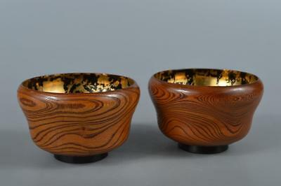 R3685: Japanese Wooden Lacquer ware Gold leaf pattern BOWL 2pcs, Tea Ceremony