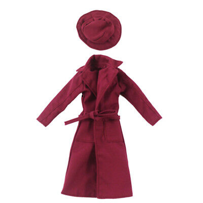 Elegant doll red overcoat with hat for barbie 1/6 dolls party daily clothes FT