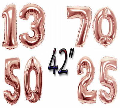 Rose Gold Happy Birthday Xmas Bunting Banner Balloons 18/21st/30/40 Party Decor